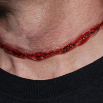 Zombie costume Necklace  - Macabre Bloody Cut-Throat 3