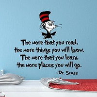 "The More That You Read Wall Decals Quote Full Color Dr Seuss Colorful Vinyl Decal Stickers Nursery Wall Decor for Kids Bedroom EN31 (17"" Tall x 17"" Wide)"