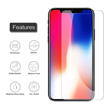 iPhone X Screen Protector,SHARKSBox 2.5D Front iPhone X Tempered Glass Screen Protectors[Bubble-Free[3D Touch][Case Friendly][Ultra Clear] Screen Protector Glass for Apple iPhoneX/iPhone 10