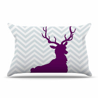 "Suzanne Carter ""Chevron Deer"" Purple  Pillow Case"