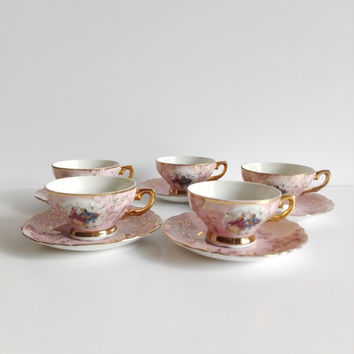 Tea set, coffee set, made in Italy, french vintage, set cups and saucers, coffee set, tea cups, french kitchen, coffee cups, home decor