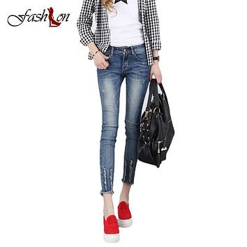 2017 Summer New Hot Selling Women Jeans Pants Fashion Cotton Cowboy Burr Hem Washed Ripped Ankle-Length Causal All-Matched Pants