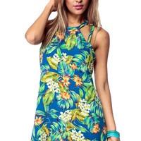 Blue Trip To Hawaii Caged Woven Dress