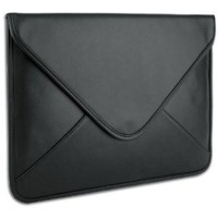 Black Generic Leather Laptop Sleeve Envelop Case fit Apple MacBook Pro 17 / most of 17 inch Notebook Computer