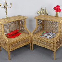 Rattan Wicker Seagrass End Tables Pair Franco Albini Style Mid Century Modern Side End Night Stands Coffee Display Set Botique or Office