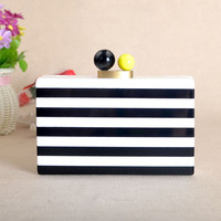 New Elegant Strip Brand Designer Acrylic Clutch
