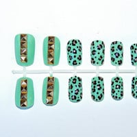 Studded Leopard Press On Fake Nails