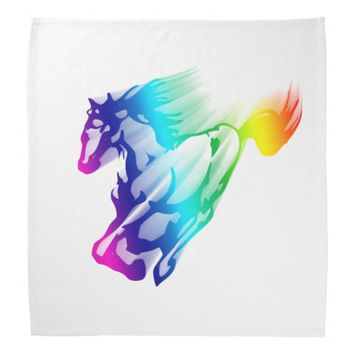 Running Rainbow Horse With Motion Trail Bandana