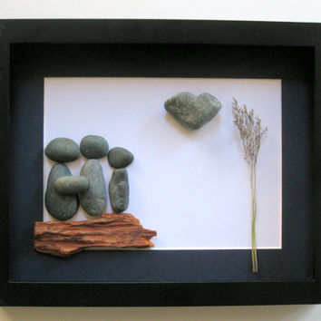 Personalized Pebble Art - Pebble Art Family Gift - Family of Three Present - Pebble Art- Original Home Decor - Handmade Gifts