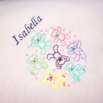 Baby Blanket, Baby Girl, Handmade Blanket, Personized Isabella, Teddy Bears, Pink Fleece, 30 X 36, Crib Blanket, Embroidered, Clearance
