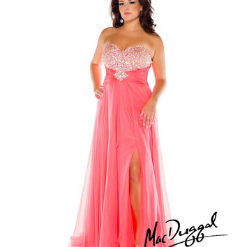 Mac Duggal 2014 Plus Size Prom Dresses - Neon Coral Crystal Strapless Lace Back Gown