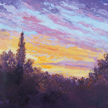 "Sunrise sky Palette Knife Oil Painting, Impressionist Landscape, ""Awakening"" Provence skyscape original painting, by Marion Hedger 10x12inch"