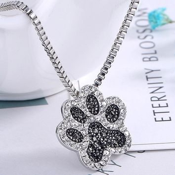 Hot Sale Dogs Paws Claw Print Pendant Necklace Black Rhinestone Jewelry Lovely Women Jewelry Lover Gifts