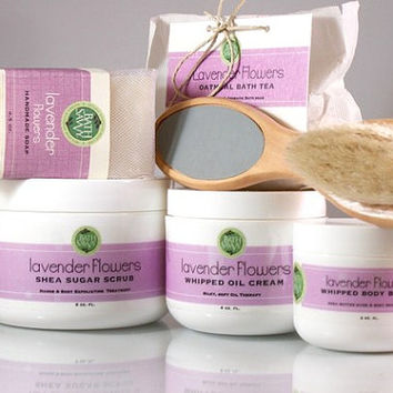 Full Pamper Gift Set Handmade Lavender Soap Sugar Scrub Whipped Body Cream Bath Tea and Oil Cream
