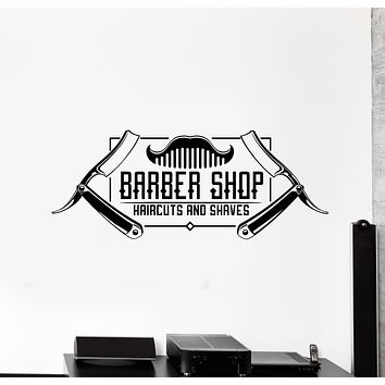 Vinyl Wall Decal Man's Hair Cutting Barber Shop Badges Tools Stickers Mural (g654)