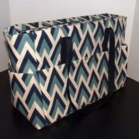 Tote/Diaper bag, X-large size, in shades of blue and natural color with navy trim (Monogramming additional charge)