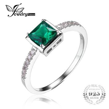 JewelryPalace Square 0.5ct Created Emerald Solitaire Ring 925 Sterling Silver Solitaire Engagement Ring Gift