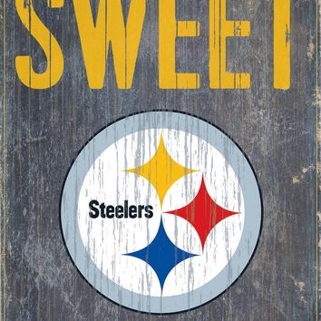 "Pittsburgh Steelers Wood Sign - Home Sweet Home 6""x12"""