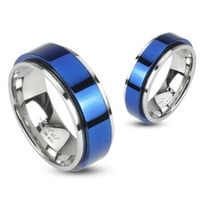 8mm Spinning Center Blue IP 316L Stainless Steel Double Layered Ring