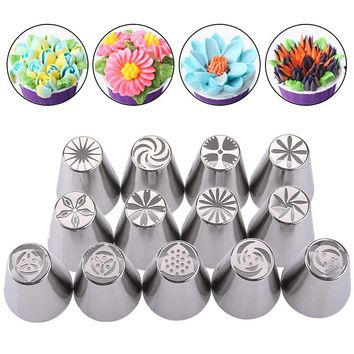 New Russian Tulip Nozzles 13Pcs/Set For Cake Cupcake Decorating Icing Piping Kitchen Tool Russian Rose Flower Pastry Tips #86716