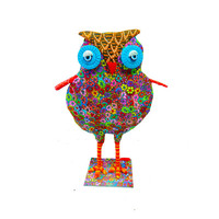 Multicolor polymer clay sculpture Owl- animal Collectibles