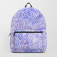 Lavender and white swirls doodles Backpacks by Savousepate