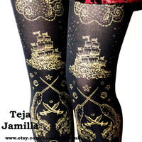 Pirate Printed Tattoo Tights Medium Tall Gold on by TejaJamilla