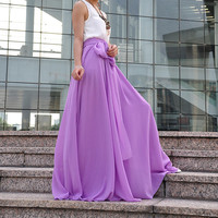 High Waist Maxi Skirt Chiffon Silk Skirts Beautiful Bow Tie Elastic Waist Summer Skirt Floor Length Long Skirt (037), #106