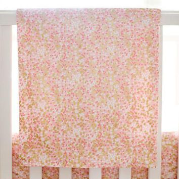 Baby Blanket | Brambleberry Coral and Gold Sparkle