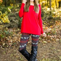 PIKO:Just About Anywhere Blouse-Red