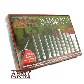 10 Miniature Paint Brushes with FREE Masterclass Kolinsky Sable Hair Brush - Durable Miniatures Paint Brush Set, Wargamer Brushes with Comfortable Grip - Wargames Mega Brush Set by The Army Painter