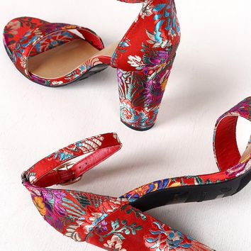 Fusion Floral Brocade Chunky Heels