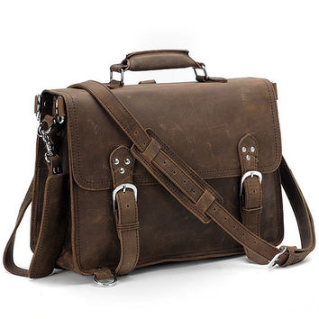 "15""  leather backpack backpacks  briefcase  laptop bag messenger Bag/Rugged Leather  bag Briefcase/Backpack/Messenger/Laptop/Men's Bag/Bag"