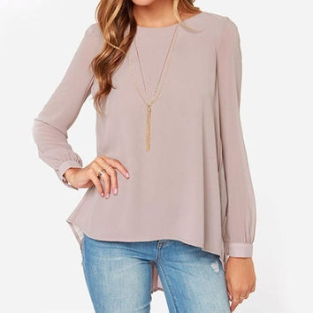 Ladies Office Shirts 2015 New Fashion Women Clothing Vintage European Style Nude Long Sleeve Pleated Back Blouse = 1946826948
