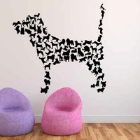 Dog Silhouettes Shaped Like a Dog Vinyl Wall Decal Sticker Graphic