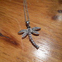 Silver Rhinestone Dragonfly Necklace | Candy's Cottage