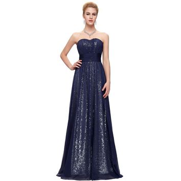 Navy Blue 30D Chiffon + Sequins Luxury Long Evening Dress Formal Gowns Mother of the bride dresses