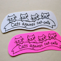 Cats Against CatCalls Sticker by JustynaDabrowskiArt on Etsy