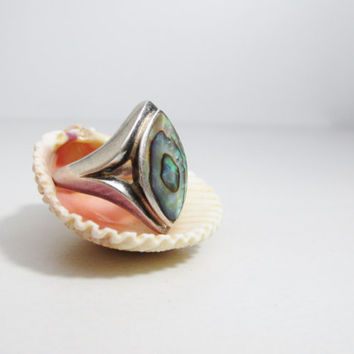 Vintage Ring: Silver and Abalone