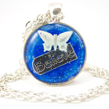 Blue Butterfly Necklace, Christian Jewelry, Baptism Gift, Believe Charm, Faith Jewelry, Catholic Gifts