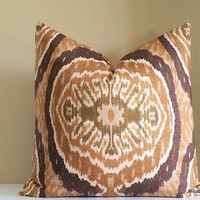 Tortoise Ikat Pillow Cover, 20x20 Cover, Fabric both sides