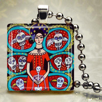 Day of the Dead Jewelry - Mexican Folk Art Jewelry Necklace pendant Necklace Charm Sugar Skulls Skeleton