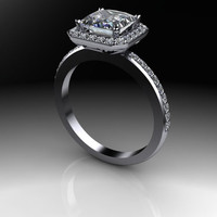 Forever One Moissanite Square Brilliant and Diamond Halo Engagement Ring 2.08 CTW