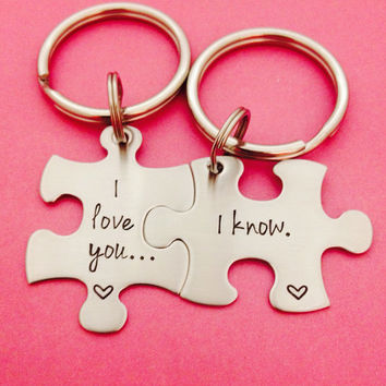 Personalized I Love You I Know Puzzle Piece Key Chain Duo - Hand Stamped Stainless Steel I Love You I Know Anniversary His Hers Gift