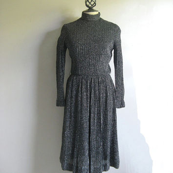 Vintage 1960s Silver Black Dress 60s Black Silver Metallic Knit Dress Medium