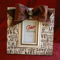 Handmade Live Laugh Love 4x6 Wood Picture Frame Photo Frame Bow and Bling Quote