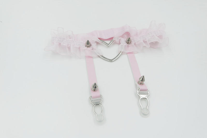 5e393b1700d Sexy Lace Elastic Flower Garter Handmade Lolita Kawaii Big Heart Leather  Leg Garter Ri