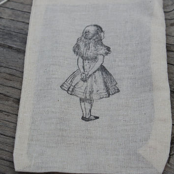 Set of 10 Hand stamped Alice In Wonderland Bag Muslin Party Favor Bags 100% organic made in america