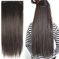 """World Pride Fashionable 23"""" Straight Full Head Clip in Hair Extensions - Dark Brown"""