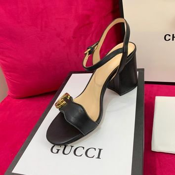 Ready Stock Gucci Black Leather Mid Heel 75mm Double G Sandal